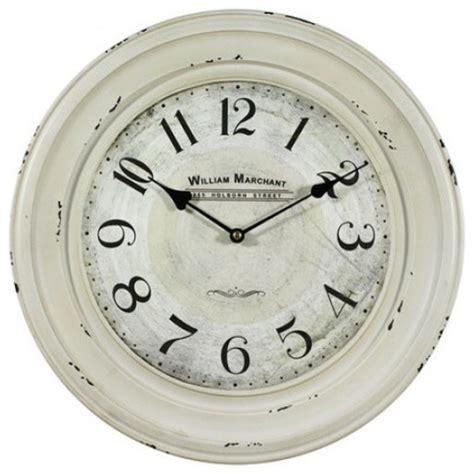 white farmhouse clock 16 in circular iron wall clock distressed white iron
