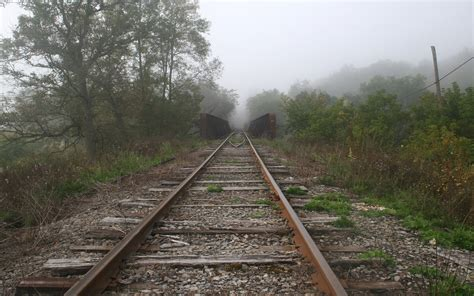 nature trains fog railroad tracks vehicles