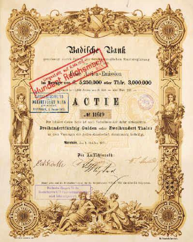 d bank aktie badische bank historische alte aktien und wertpapie