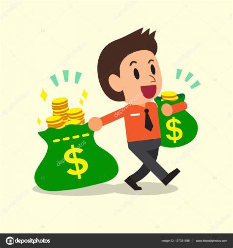 imagenes reflexivas sobre el dinero empresario de dibujos animados lleva bolsas de dinero