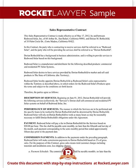 representation agreement template sales representative contract template agreement with sle
