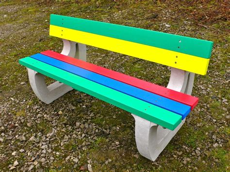 recycled garden bench colne rainbow bench garden bench multicoloured