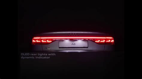 new audi a8 oled rear lights with dynamic indicator