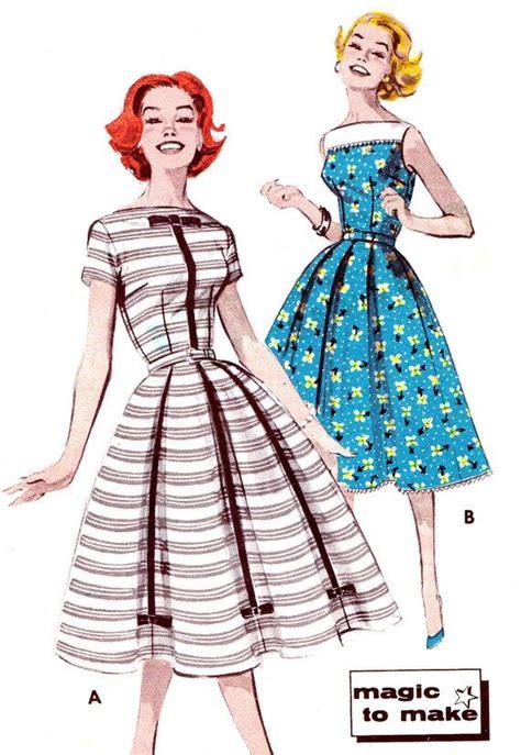 pattern vintage fashion 1950s dress pattern butterick 9602 full skirt day or