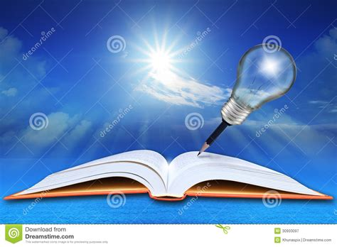 a sky of books open book on sea and blue sky with pencil light bulb