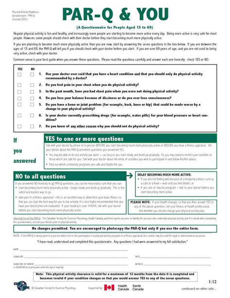 par q template for sport exercise science and fitness pre participation