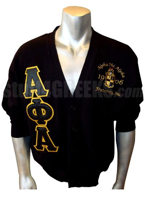 Cs R Sweater alpha phi alpha letter cardigan with embellished