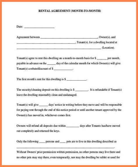 6 month to month rental agreement template purchase