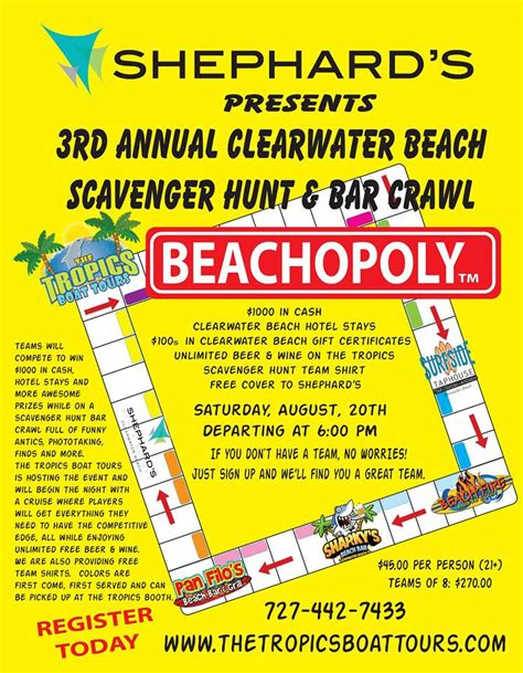 Cash For Gift Cards Clearwater Fl - 3rd annual clearwater beach scavenger hunt bar crawl st petersburg clearwater fl