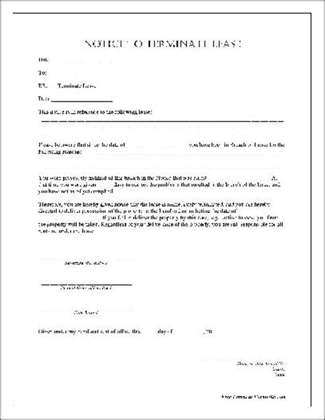 Notice Of Lease Termination Letter From Landlord To Tenant Uk Termination Of Lease Form Free Printable Documents