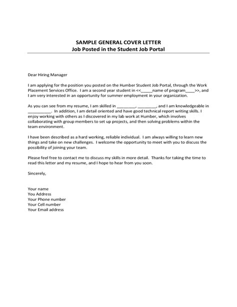 general cover letter for any a general cover letter for any cover letter templates