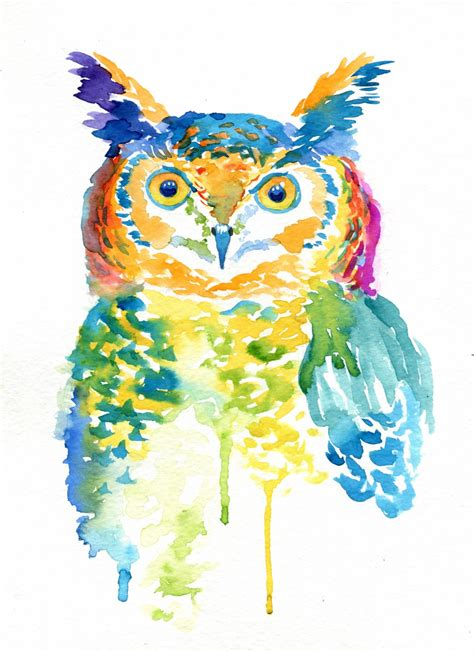 Colorfull Owl colorful owl print watercolor gifts rainbow