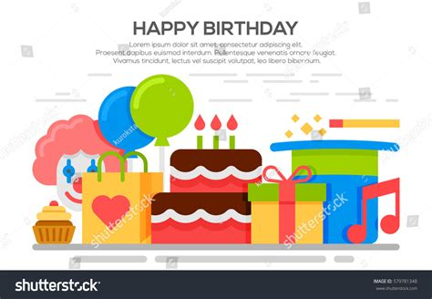 event concept template flat happy birthday festive concept stock vector