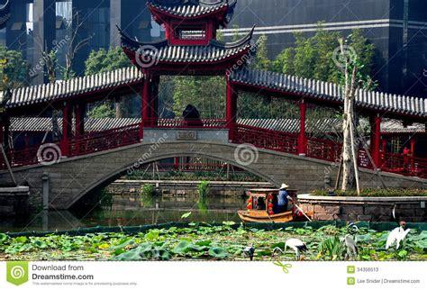 Chengdu China Covered Bridge And Boat At Long Tan Water Bridge Traditional
