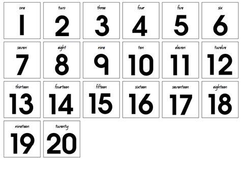 printable number cards 1 20 printable number cards 1 20