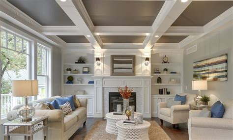 great photo  coffered ceiling  fireplace detail