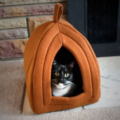 target cat beds petmaker cozy kitty tent igloo plush cat bed brown target