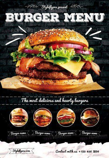 template flyer burger burger menu psd flyer template 20454 styleflyers