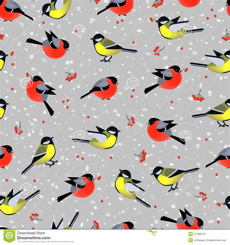 seamless pattern bird seamless pattern with cute birds bullfinches and tits in