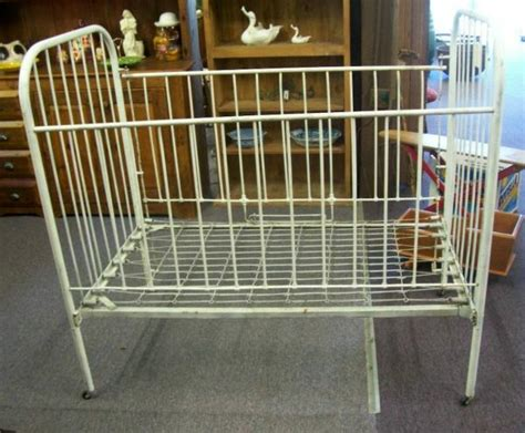 antique cast iron baby bed crib size circa 1940s