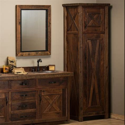 rustic bathroom linen cabinets reclaimed barnwood barn door linen closet bathroom furniture