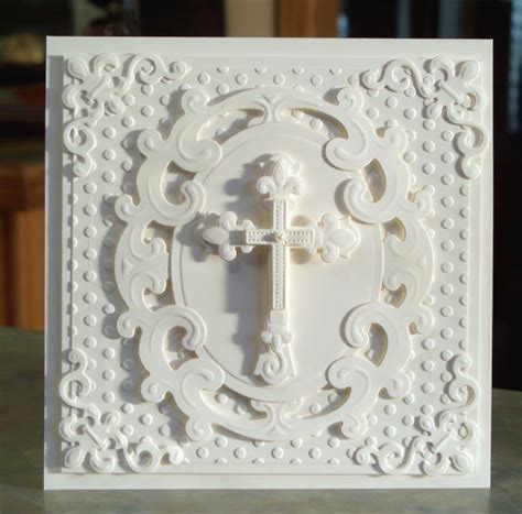 Handmade Christian Cards - handmade embossed cross card for easter baptism