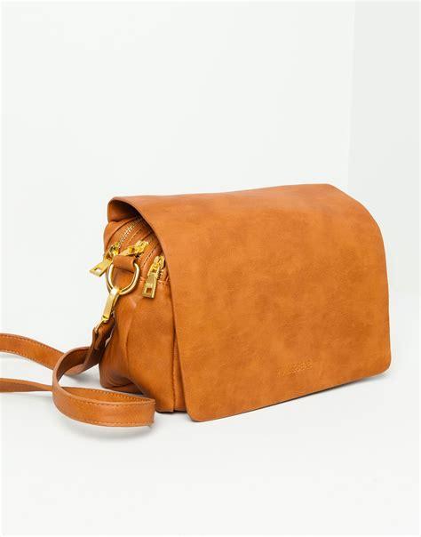 Pullbear Bag pull messenger bag in brown leather lyst