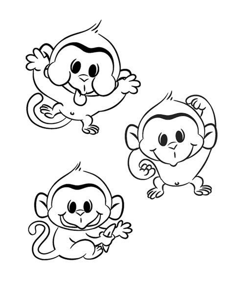 cute baby monkey coloring pages 18095 bestofcoloring com