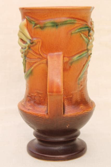 vintage roseville pottery tangerine brown freesia vase