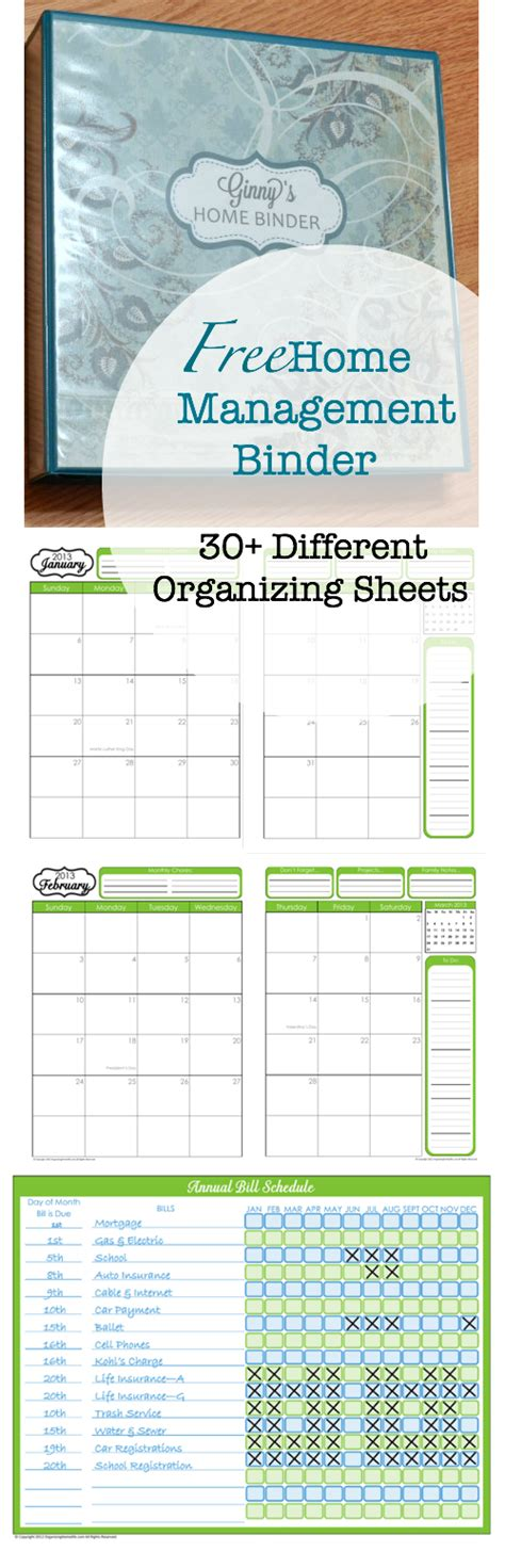 more than 200 free home management binder printables fab