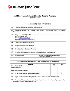 Questionnaires For Money - bank form money laundering fill online printable fillable blank pdffiller