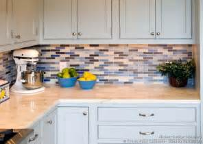 Blue Kitchen Backsplash Tile Transitional Kitchen Design With Pale Blue Shaker Style Cabinets