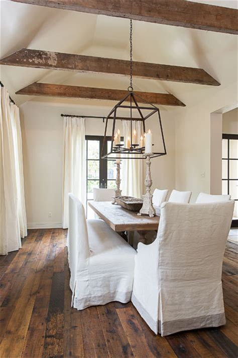 White Ceiling Beams Decorative by Monochromatic Dining Room Transitional Dining Room