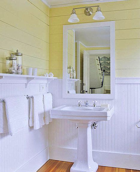 Bathroom Walls Yellow Tongue And Groove Painted Yellow Above Beadboard Painted