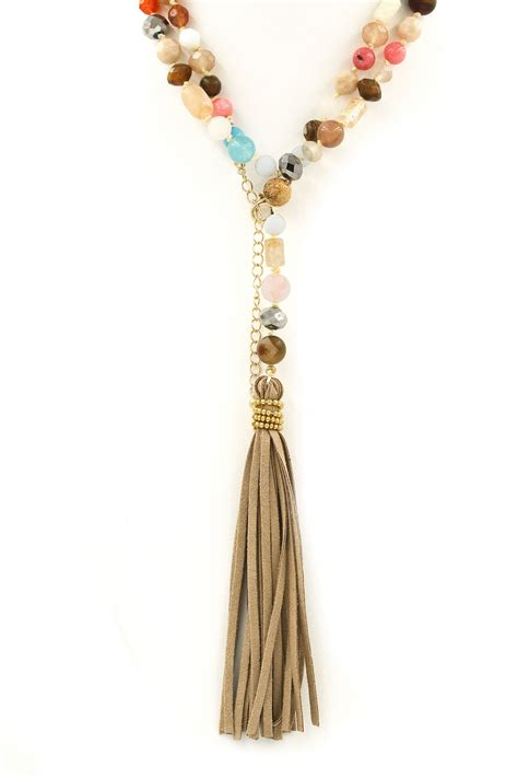 Necklace Suede Clothing Accessories 3 assorted bead faux suede tassel necklace necklaces