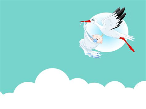Cute Baby with Stork PPT Backgrounds   Animals, Blue