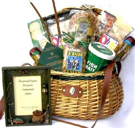 gift for fisherman fishing creel gift basket loaded with fishing theme goodies