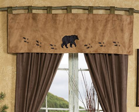 black bear kitchen curtains wildlife tracks bear valance