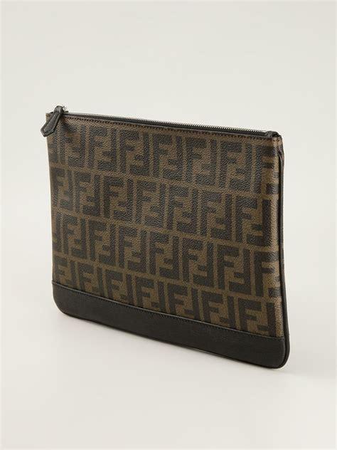 Ff Clutch Bottega fendi ff logo clutch in brown for lyst