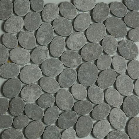 dark grey sliced stone pebble mosaic tile wall floor