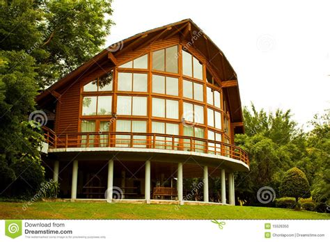 Cabin Plans With Porch glass house stock photo image 15526350