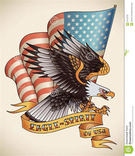 eagle spirit old tattoo stock vector image 37473791