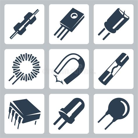 resistors transistors capacitors vector electronic components icons set stock image image 35997701