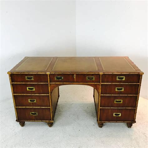 henredon desk henredon faux bamboo desk with inlaid leather top for sale