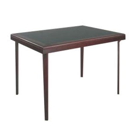 cosco 32 in x 44 in brown wood folding table with vinyl