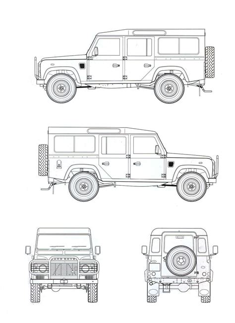 land rover drawing land rover defender 110 blueprint download free