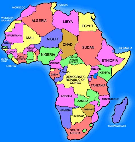 africa map by country map of africa countries