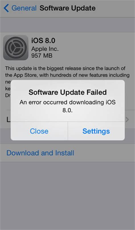 ios   iphone software update server    contacted  software update failed