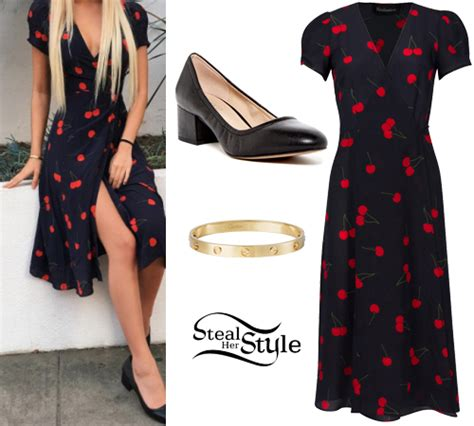 kaia gerber cherry dress kelsey calemine cherry print dress black pumps steal