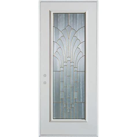 36 X 80 Exterior Door Stanley Doors 36 In X 80 In Deco Lite Painted White Steel Prehung Front Door 1350p P